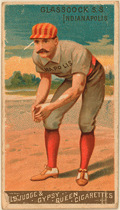 1888 Goodwin Champions (Goodwin & Company) tobacco card featuring Jack Glasscock, Indianapolis Hoosiers shortstop