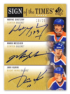 Upper Deck Sign of the Times Three (2012-13 SP Authentic Hockey) signed by Gretzky, Messier, and Kurri
