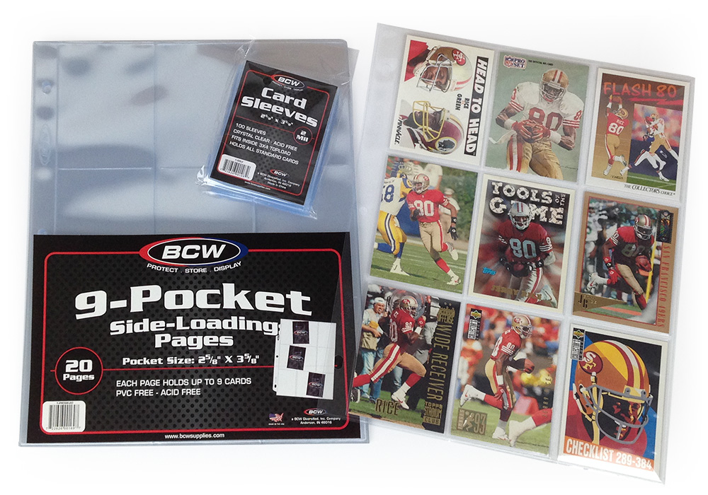 Jerry Rice cards in BCW card sleeves and 9-Pocket Side-Loading pages