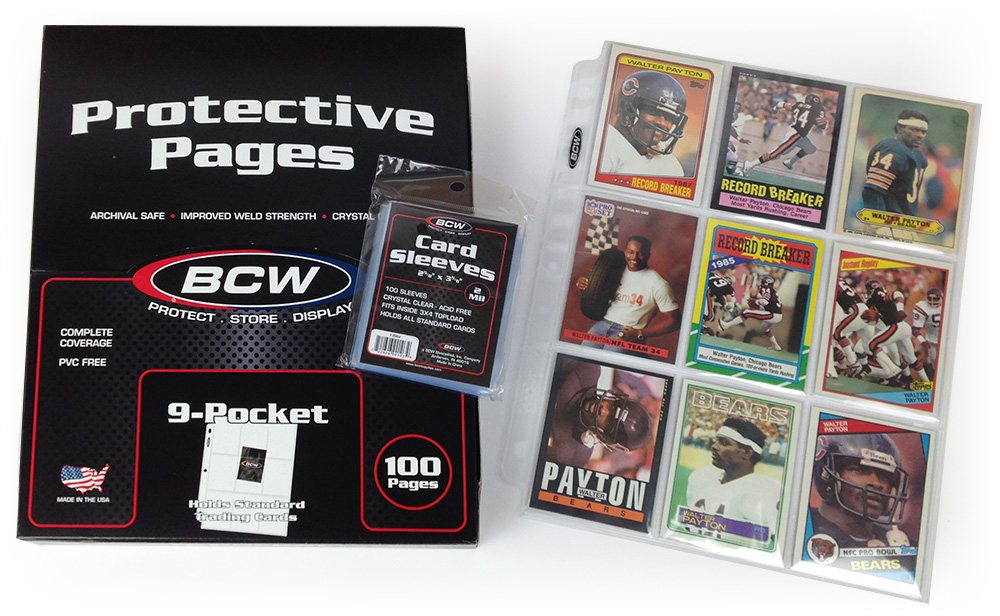 Payton cards in BCW card sleeves and 9-Pocket Top-Loading Pages