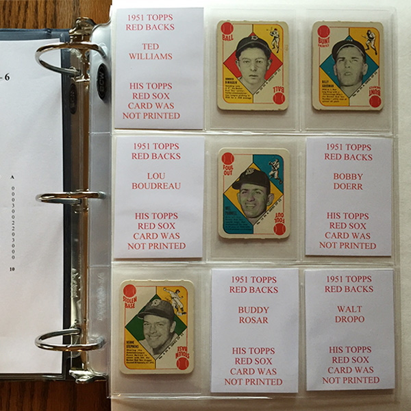 The 1951 cards are smaller than today's cards. These were placed in BCW's 1948 Bowman Card OInsert Sleeves to center the cards in the page's pocket.