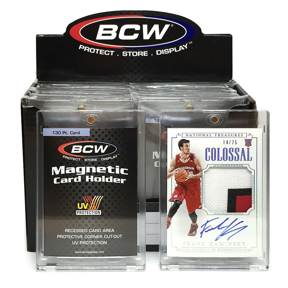 PRIZE 5 – one 2015 Panini National Treasures Colossal patch card autographed by Frank Kaminsky (14/25), and one box of BCW 130-pt. Magnetic Card Holders
