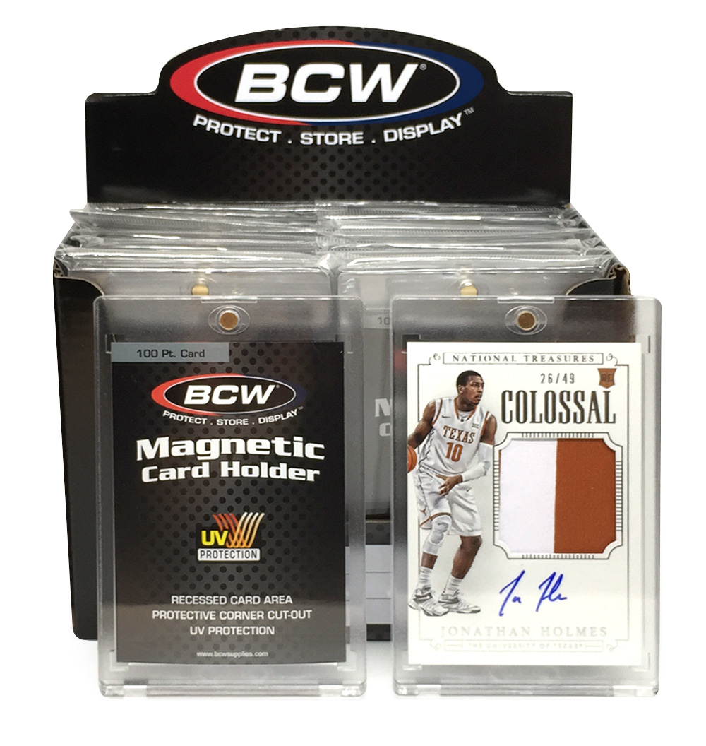 PRIZE 2 – one 2015 Panini National Treasures Colossal patch card autographed by Jonathan Holmes (26/49), and one box of BCW 100-pt. Magnetic Card Holders.