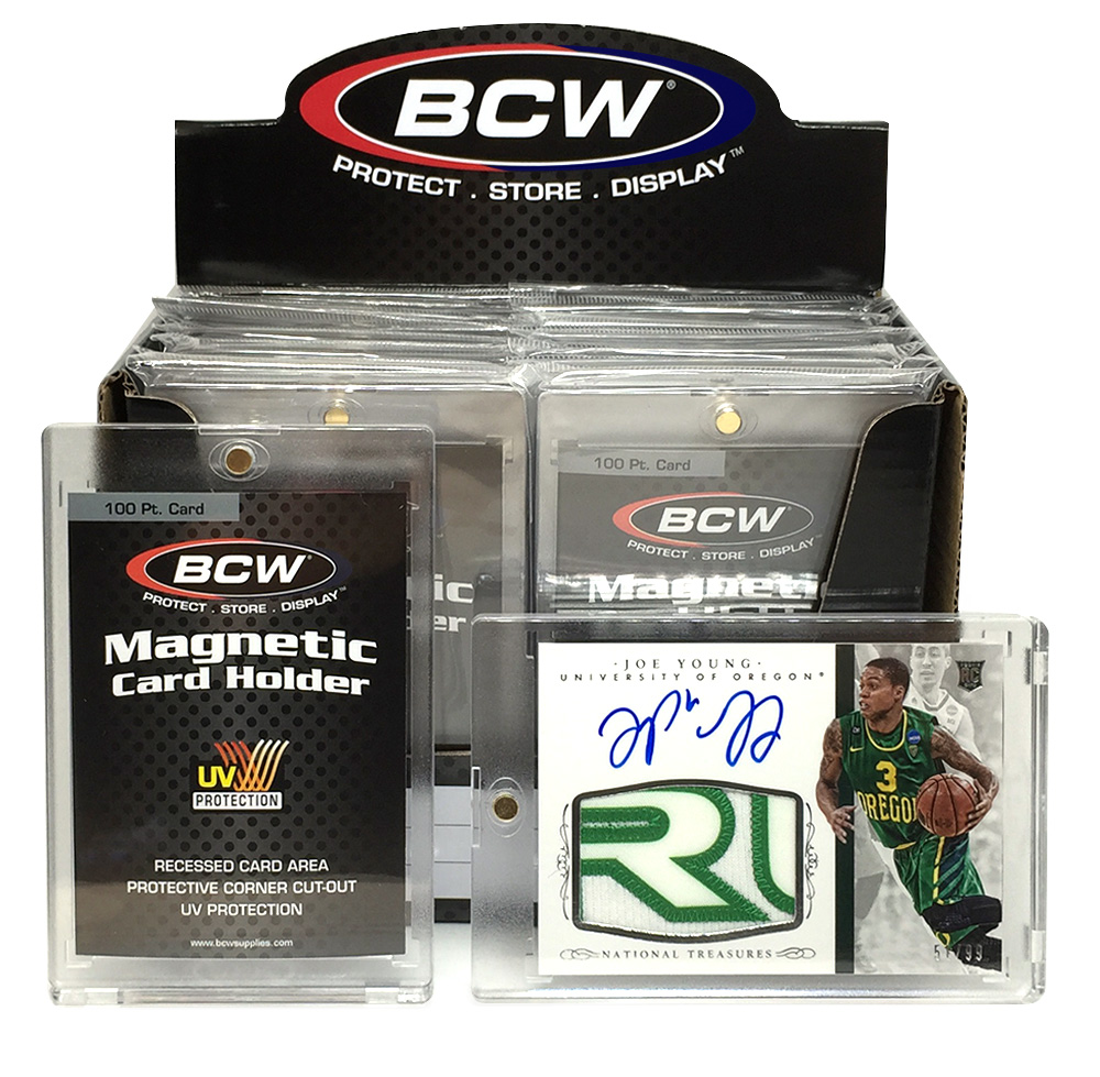 PRIZE 4 – one 2015 Panini National Treasures patch card autographed by Joe Young (51/99), and one box of BCW 100-pt. Magnetic Card Holders.