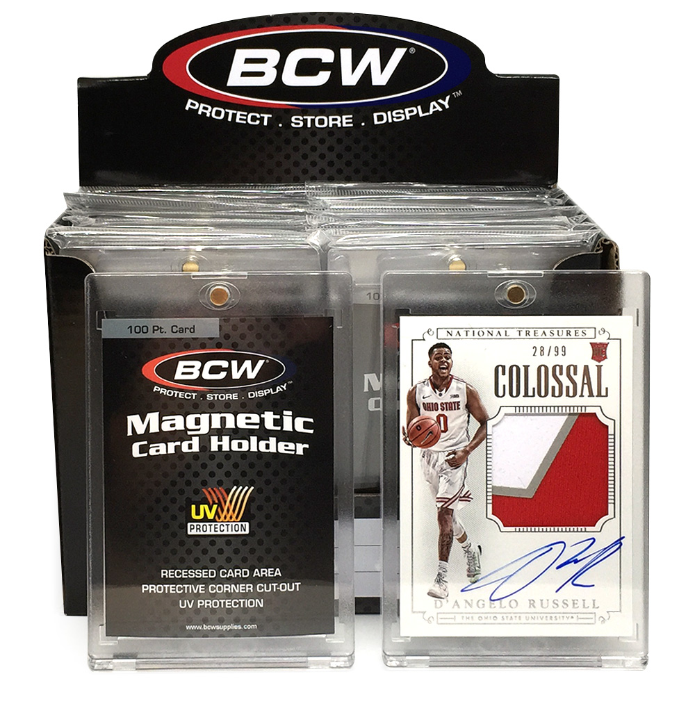 PRIZE 3 – one 2015 Panini National Treasures Colossal patch card autographed by D'Angelo Russell (28/99), and one box of BCW 100-pt. Magnetic Card Holders.