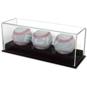ACRYLIC TRIPLE BASEBALL DISPLAY
