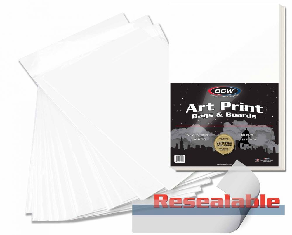 100-11 x 17 Art Print Archival 2-mil Acid Free Poly Bags Resealable Sleeves