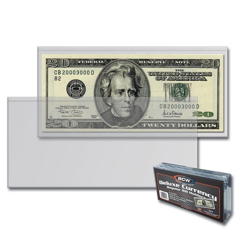 BCW Deluxe Large Bill Currency Holder 1-DCH-LB 800 2 Case of 16 Packs