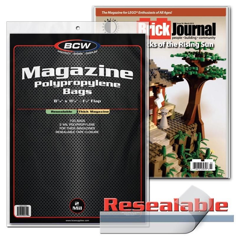 Pack of 100 BCW Non-Resealable THICK Magazine Poly Bags 8 7//8 x 11 Acid Free