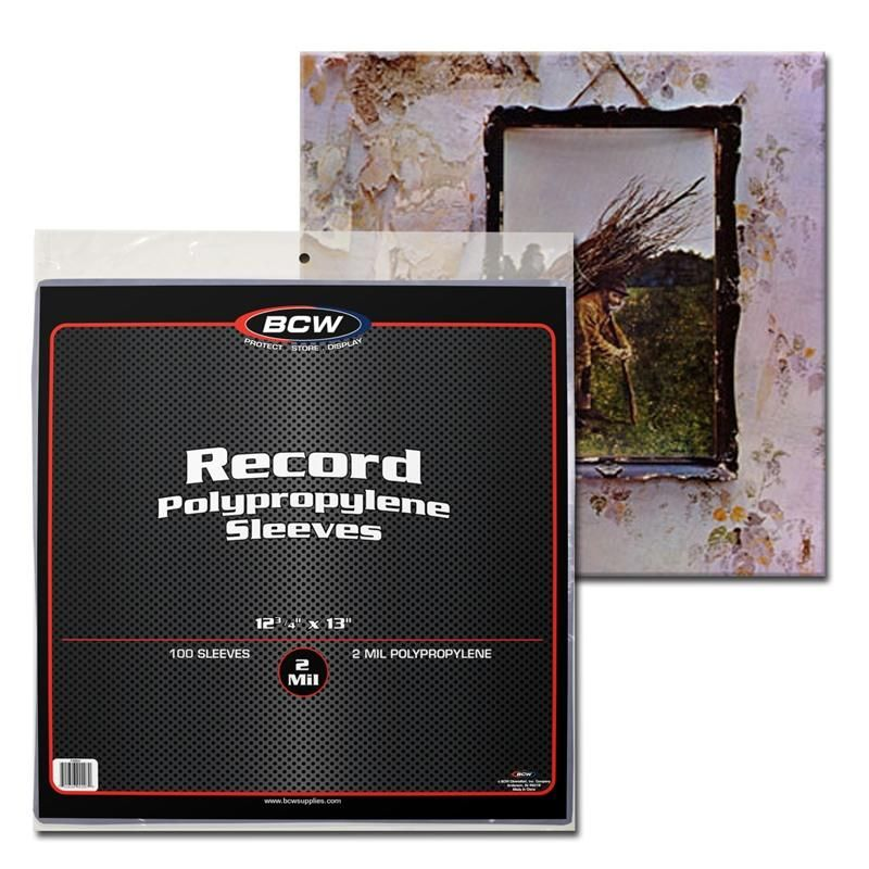 """~#BCW Clear 33-1//3 rpm Record Polypropylene Protective Sleeves 12-3//4/"""" X 13/"""""""