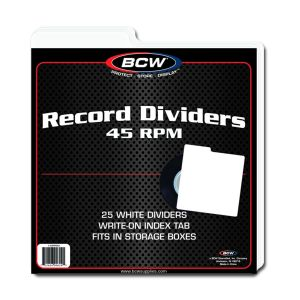 45RPM RECORD DIVIDERS - WHITE