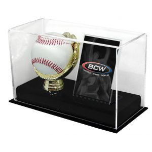 ACRYLIC GOLD GLOVE BALL AND CARD DISPLAY