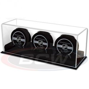 ACRYLIC TRIPLE HOCKEY PUCK DISPLAY