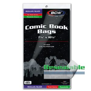 RESEALABLE SILVER COMIC BAGS - THICK