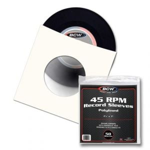 PAPER RECORD SLEEVES - 45 RPM - POLYLINED - SQ CORNERS - WITH HOLE